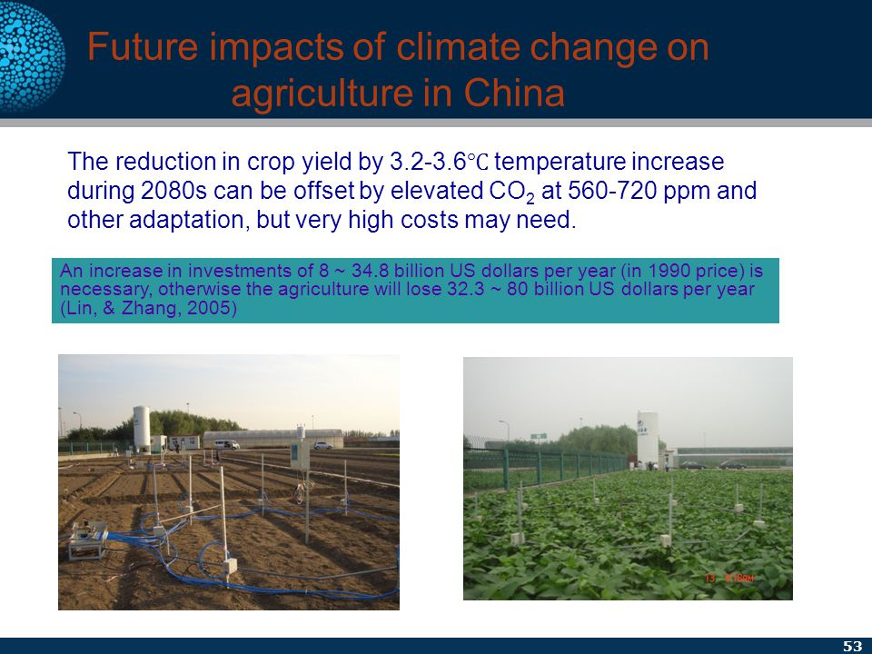 53 Future impacts of climate change on agriculture in China The reduction in crop yield by 3.2-3.6 ℃ temperature increase during 2080s can be offset b