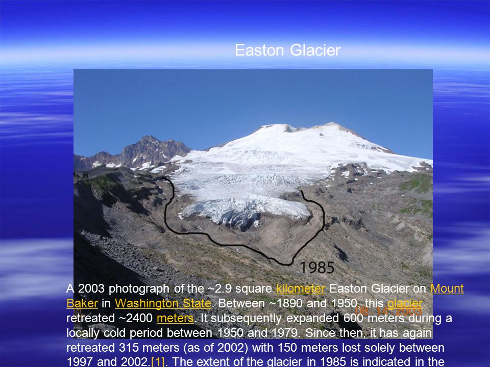 A 2003 photograph of the ~2.9 square kilometer Easton Glacier on Mount Baker in Washington State.