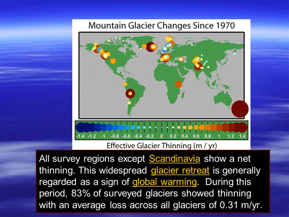 All survey regions except Scandinavia show a net thinning. This widespread glacier retreat is generally regarded as a sign of global warming. During t