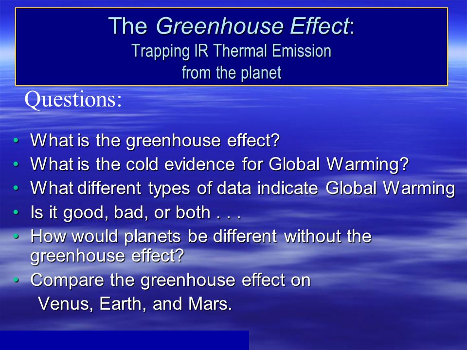 The Greenhouse Effect: Trapping IR Thermal Emission from the planet What is the greenhouse effect What is the greenhouse effect.