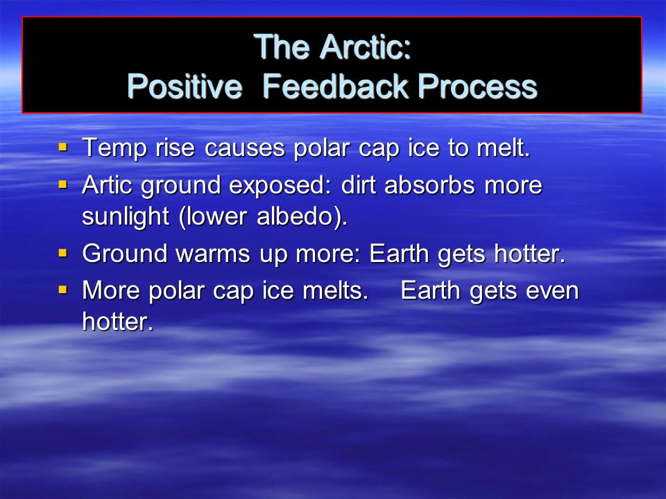 The Arctic: Positive Feedback Process  Temp rise causes polar cap ice to melt.  Artic ground exposed: dirt absorbs more sunlight (lower albedo).  G