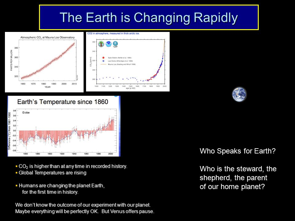 The Earth is Changing Rapidly Who Speaks for Earth? Who is the steward, the shepherd, the parent of our home planet?  CO 2 is higher than at any time