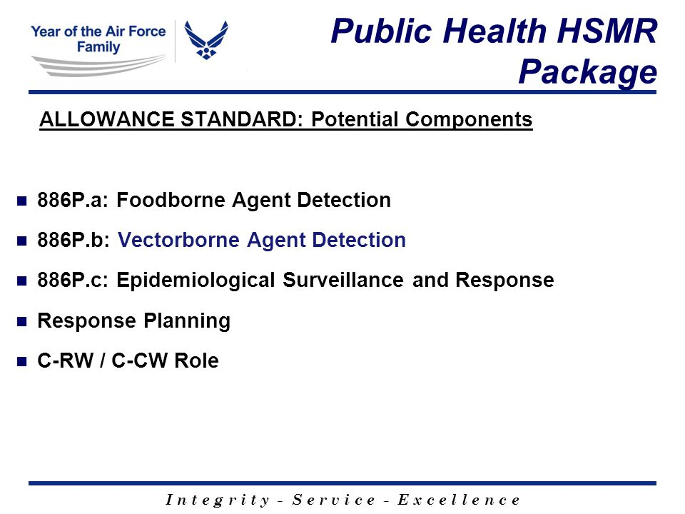 I n t e g r i t y - S e r v i c e - E x c e l l e n c e Public Health HSMR Package ALLOWANCE STANDARD: Potential Components 886P.a: Foodborne Agent Detection 886P.b: Vectorborne Agent Detection 886P.c: Epidemiological Surveillance and Response Response Planning C-RW / C-CW Role