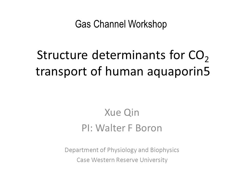 Structure determinants for CO 2 transport of human aquaporin5 Xue Qin PI: Walter F Boron Department of Physiology and Biophysics Case Western Reserve University Gas Channel Workshop