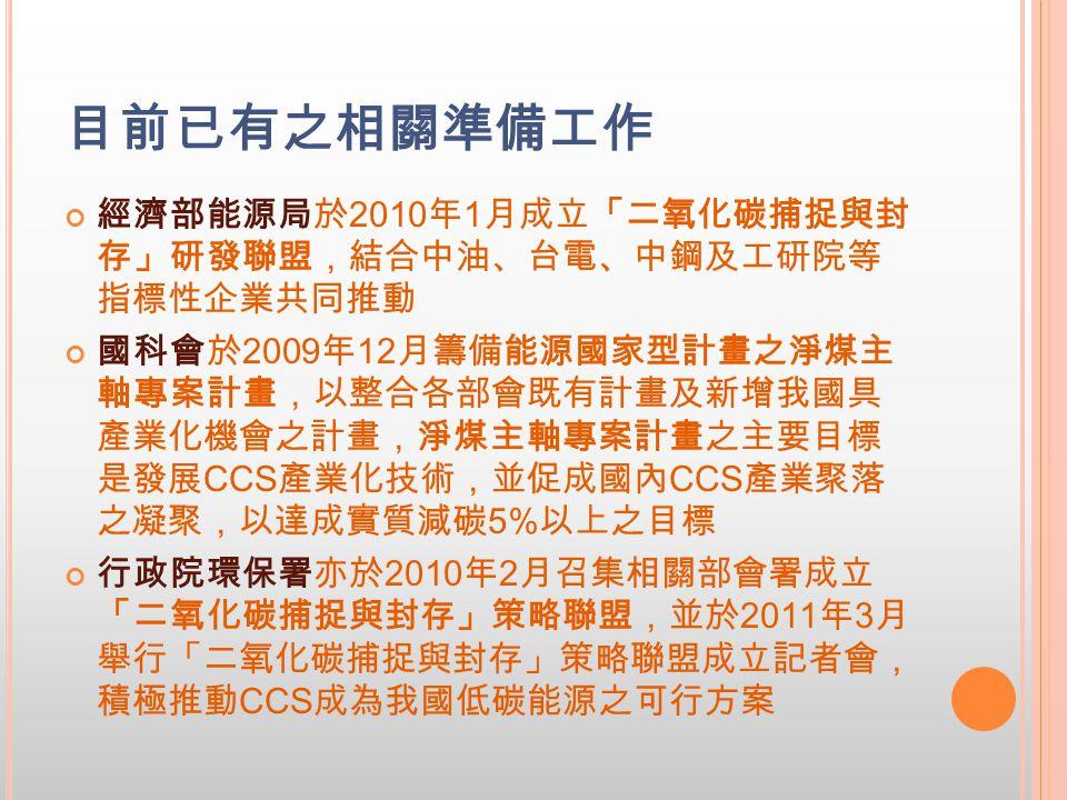 目前已有之相關準備工作 經濟部能源局於 2010 年 1 月成立「二氧化碳捕捉與封 存」研發聯盟,結合中油、台電、中鋼及工研院等 指標性企業共同推動 國科會於 2009 年 12 月籌備能源國家型計畫之淨煤主 軸專案計畫,以整合各部會既有計畫及新增我國具 產業化機會之計畫,淨煤主軸專案計畫之主要目標 是發展 CCS 產業化技術,並促成國內 CCS 產業聚落 之凝聚,以達成實質減碳 5% 以上之目標 行政院環保署亦於 2010 年 2 月召集相關部會署成立 「二氧化碳捕捉與封存」策略聯盟,並於 2011 年 3 月 舉行「二氧化碳捕捉與封存」策略聯盟成立記者會, 積極推動 CCS 成為我國低碳能源之可行方案