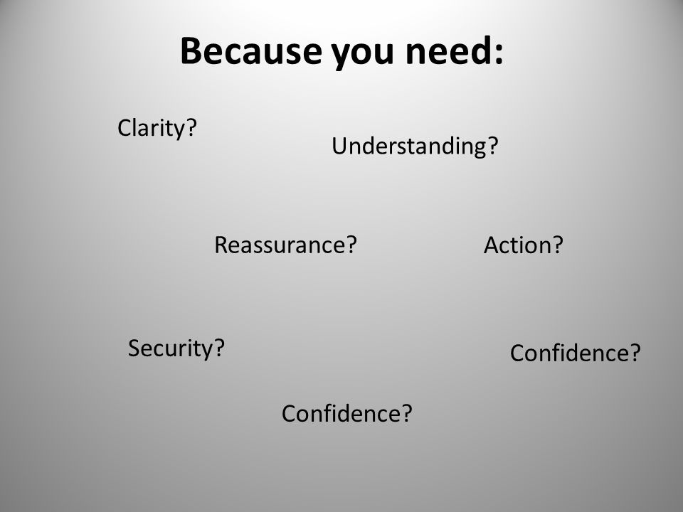 Because you need: Understanding Reassurance Security Confidence Action Clarity Confidence