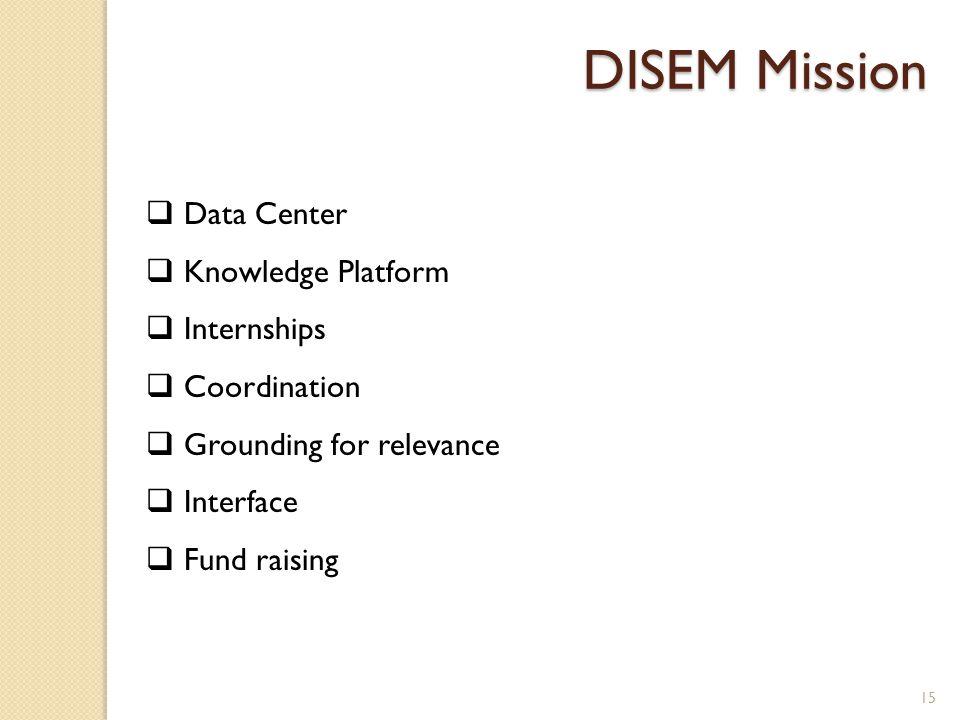 15  Data Center  Knowledge Platform  Internships  Coordination  Grounding for relevance  Interface  Fund raising DISEM Mission