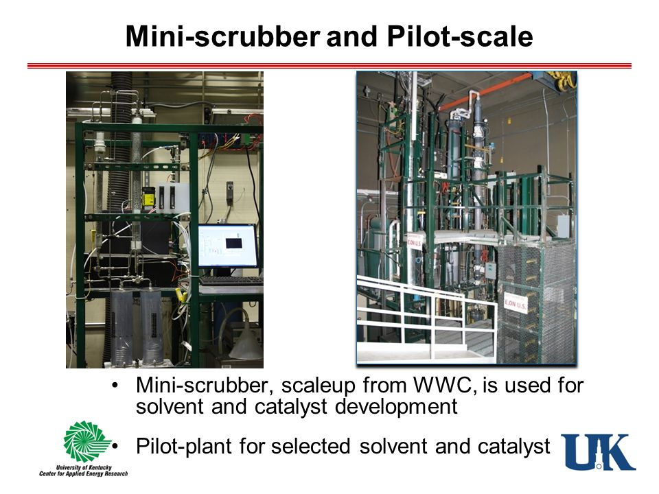 Mini-scrubber and Pilot-scale Mini-scrubber, scaleup from WWC, is used for solvent and catalyst development Pilot-plant for selected solvent and catalyst