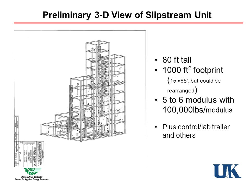 Preliminary 3-D View of Slipstream Unit 80 ft tall 1000 ft 2 footprint ( 15'x65', but could be rearranged ) 5 to 6 modulus with 100,000lbs/ modulus Plus control/lab trailer and others