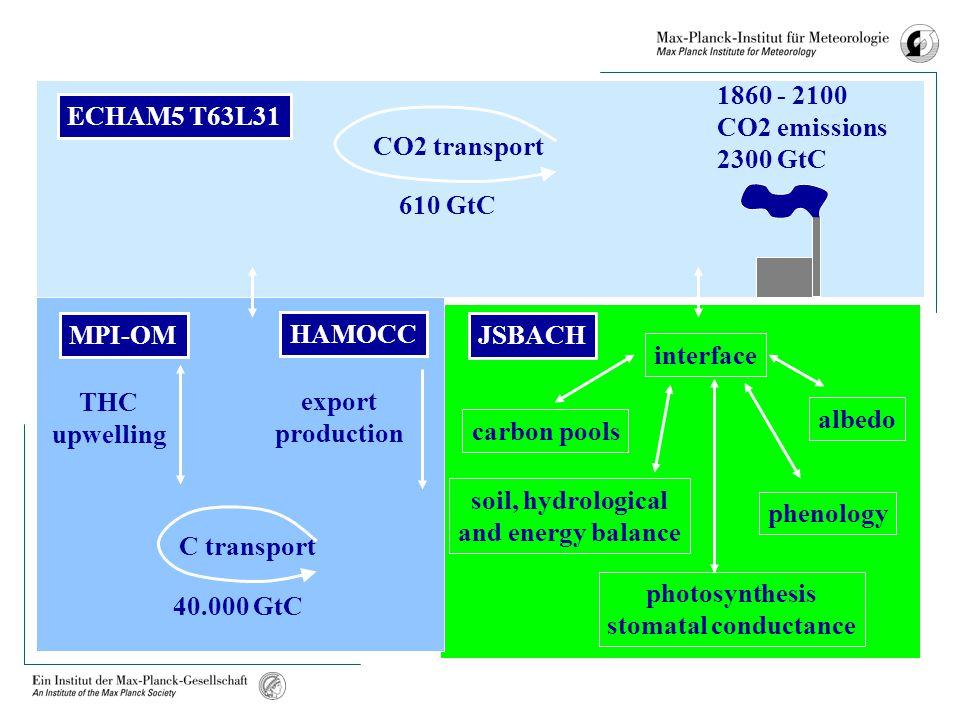 ECHAM5 T63L31 JSBACH MPI-OM CO2 transport C transport THC upwelling export production 1860 - 2100 CO2 emissions 2300 GtC 610 GtC 40.000 GtC HAMOCC int
