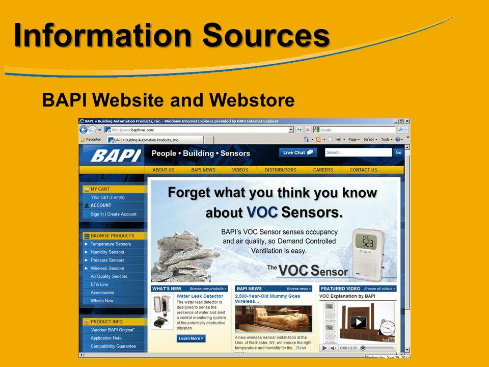 Information Sources BAPI Website and Webstore