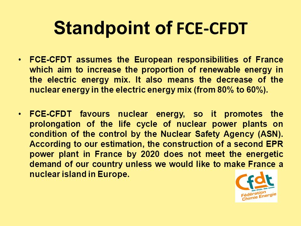 Standpoint of FCE-CFDT FCE-CFDT assumes the European responsibilities of France which aim to increase the proportion of renewable energy in the electric energy mix.