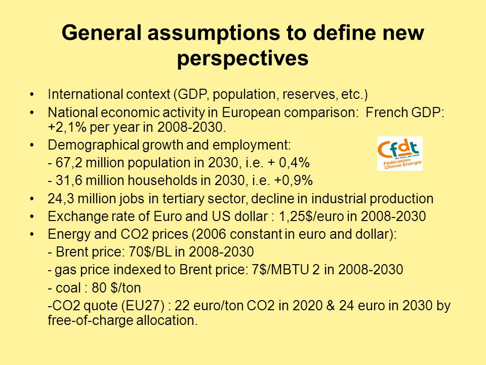 General assumptions to define new perspectives International context (GDP, population, reserves, etc.