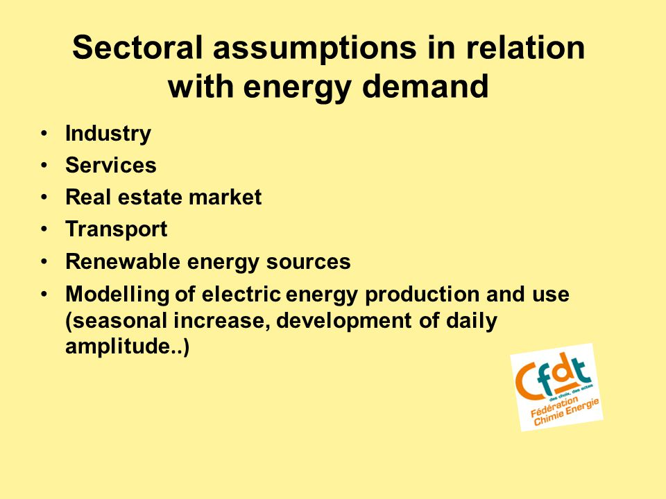 Sectoral assumptions in relation with energy demand Industry Services Real estate market Transport Renewable energy sources Modelling of electric energy production and use (seasonal increase, development of daily amplitude..)