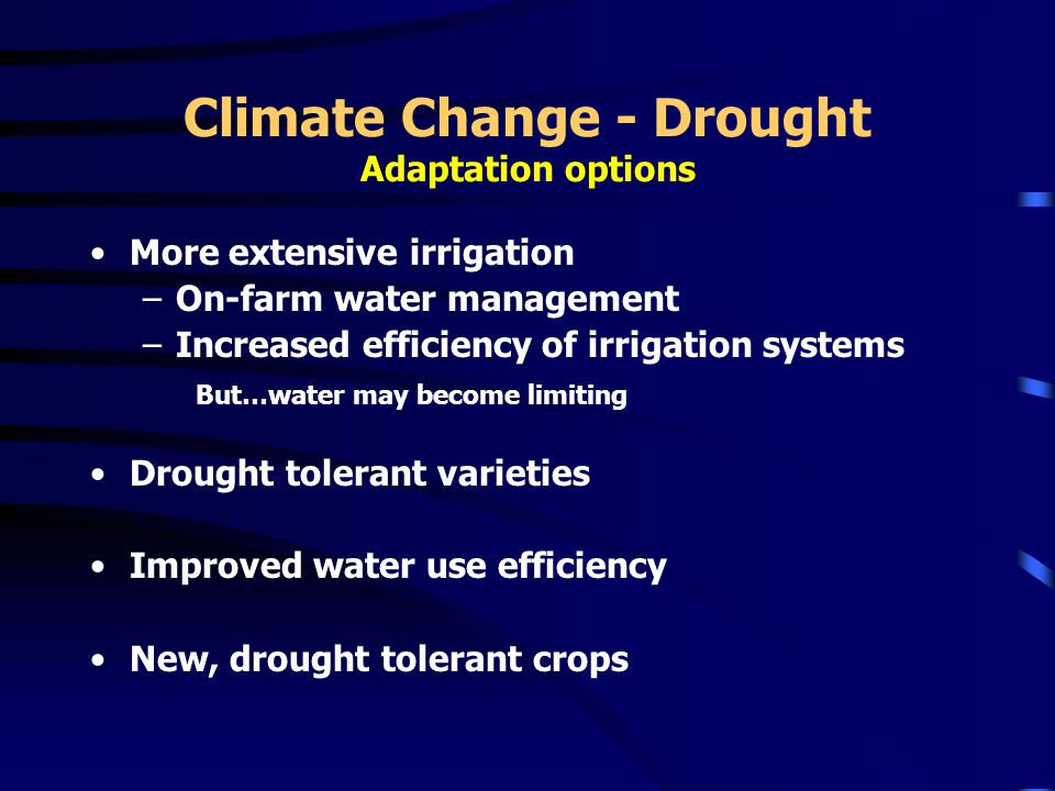 Climate Change - Drought Adaptation options More extensive irrigation –On-farm water management –Increased efficiency of irrigation systems But…water may become limiting Drought tolerant varieties Improved water use efficiency New, drought tolerant crops