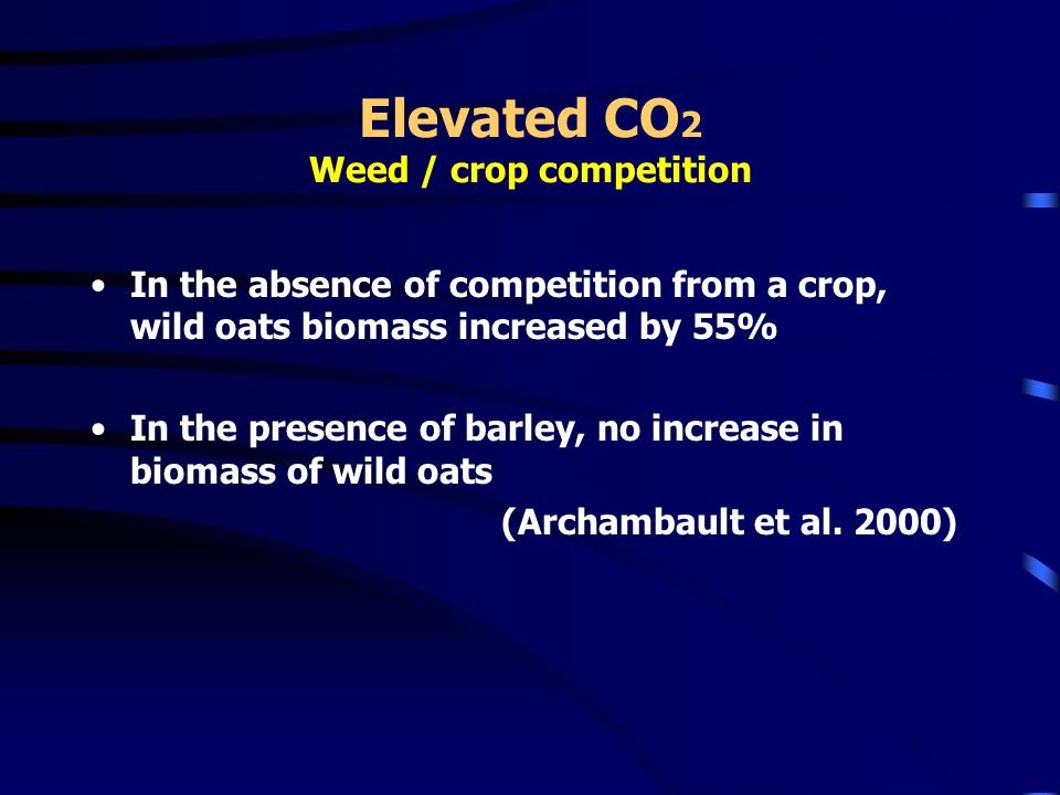 Elevated CO 2 Weed / crop competition In the absence of competition from a crop, wild oats biomass increased by 55% In the presence of barley, no increase in biomass of wild oats (Archambault et al.