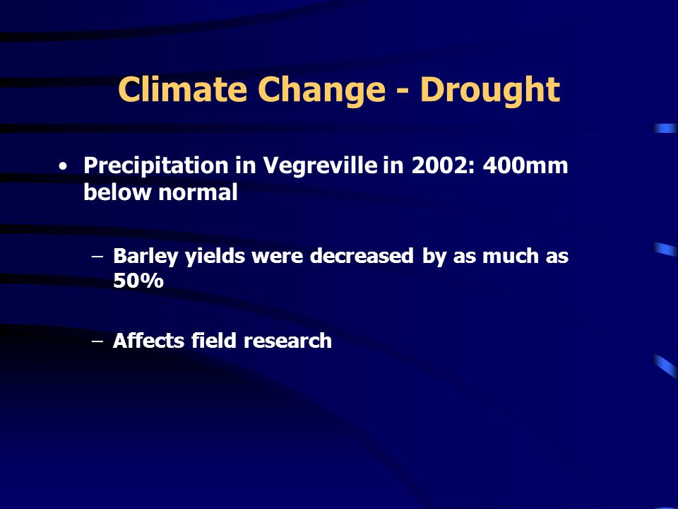 Climate Change - Drought Precipitation in Vegreville in 2002: 400mm below normal –Barley yields were decreased by as much as 50% –Affects field research