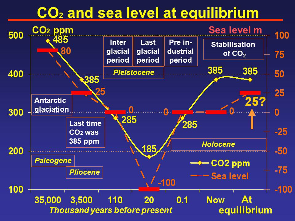 CO 2 and sea level at equilibrium CO 2 ppmSea level m Antarctic glaciation Last time CO 2 was 385 ppm Inter glacial period Last glacial period Pliocene Pleistocene Paleogene Thousand years before present At equilibrium Stabilisation of CO 2 Holocene Pre in- dustrial period