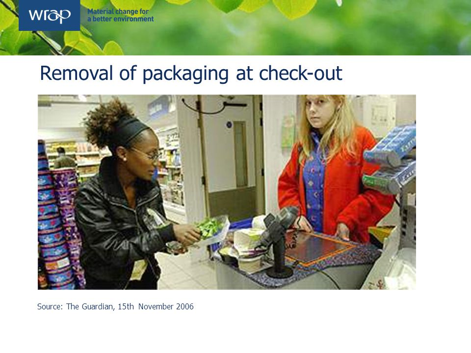 Removal of packaging at check-out Source: The Guardian, 15th November 2006