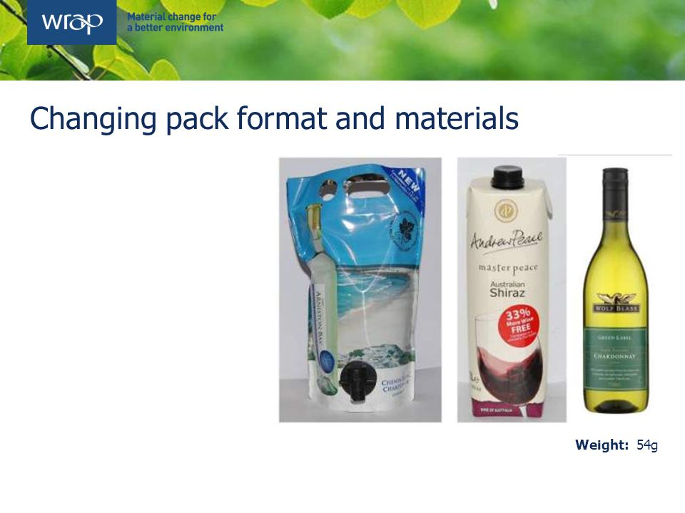 Changing pack format and materials Weight: 54g