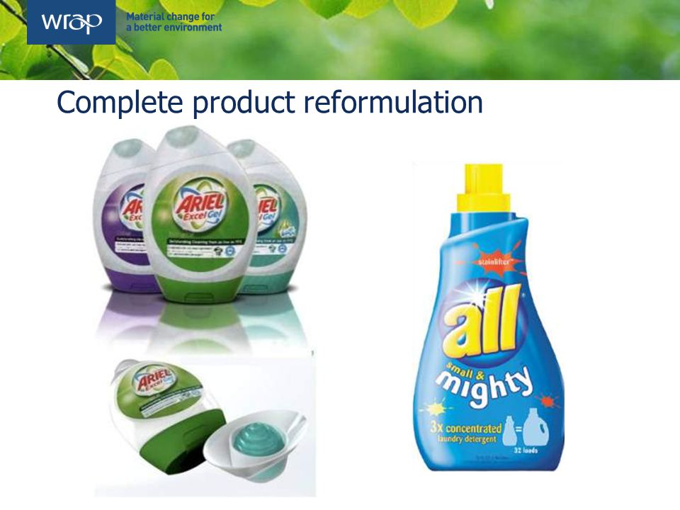 Complete product reformulation