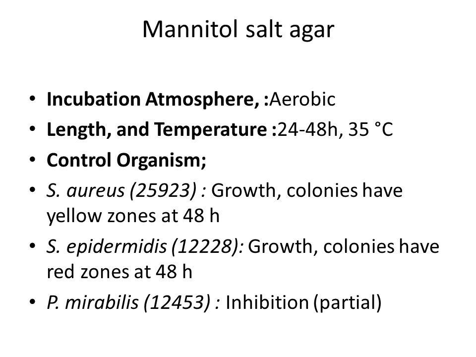 Mannitol salt agar Incubation Atmosphere, :Aerobic Length, and Temperature :24-48h, 35 °C Control Organism; S.