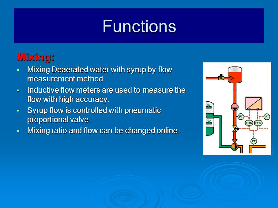 Functions Mixing:  Mixing Deaerated water with syrup by flow measurement method.
