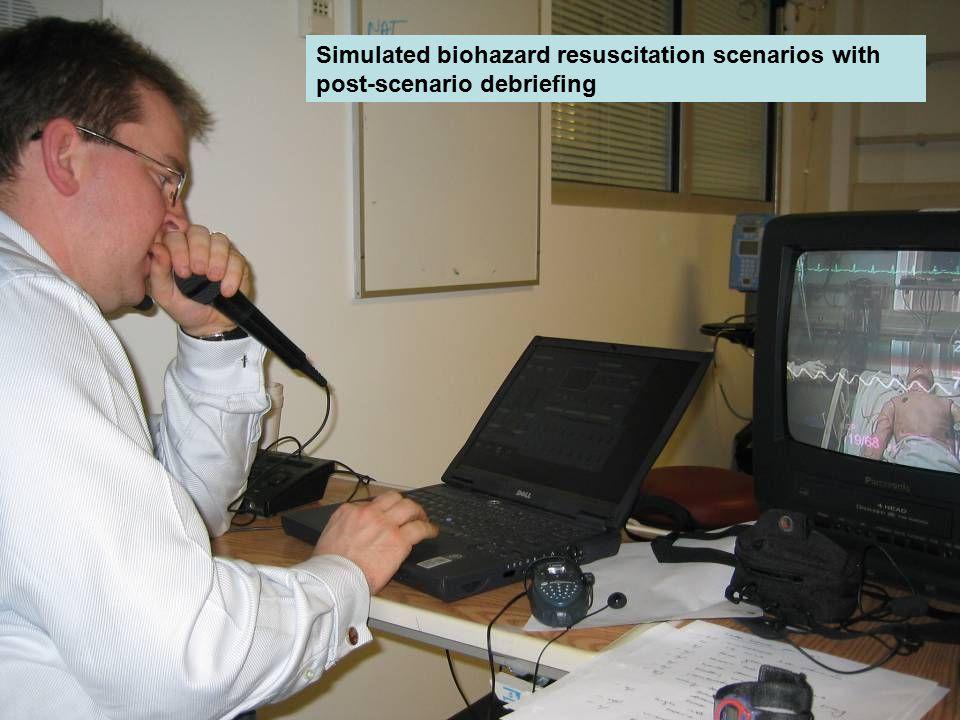 Simulated biohazard resuscitation scenarios with post-scenario debriefing