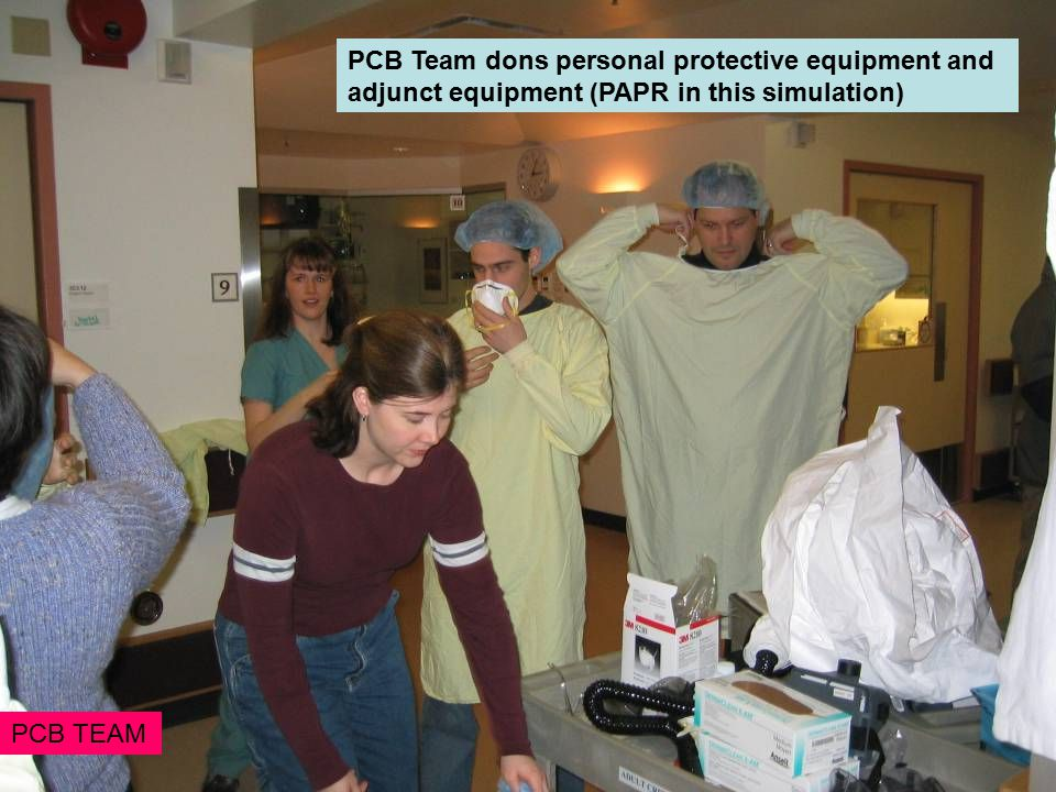 PCB Team dons personal protective equipment and adjunct equipment (PAPR in this simulation) PCB TEAM