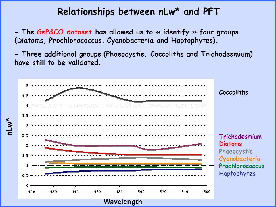nLw* Wavelength Coccoliths Trichodesmium Diatoms Phaeocystis Cyanobacteria Prochlorococcus Haptophytes - The GeP&CO dataset has allowed us to « identi