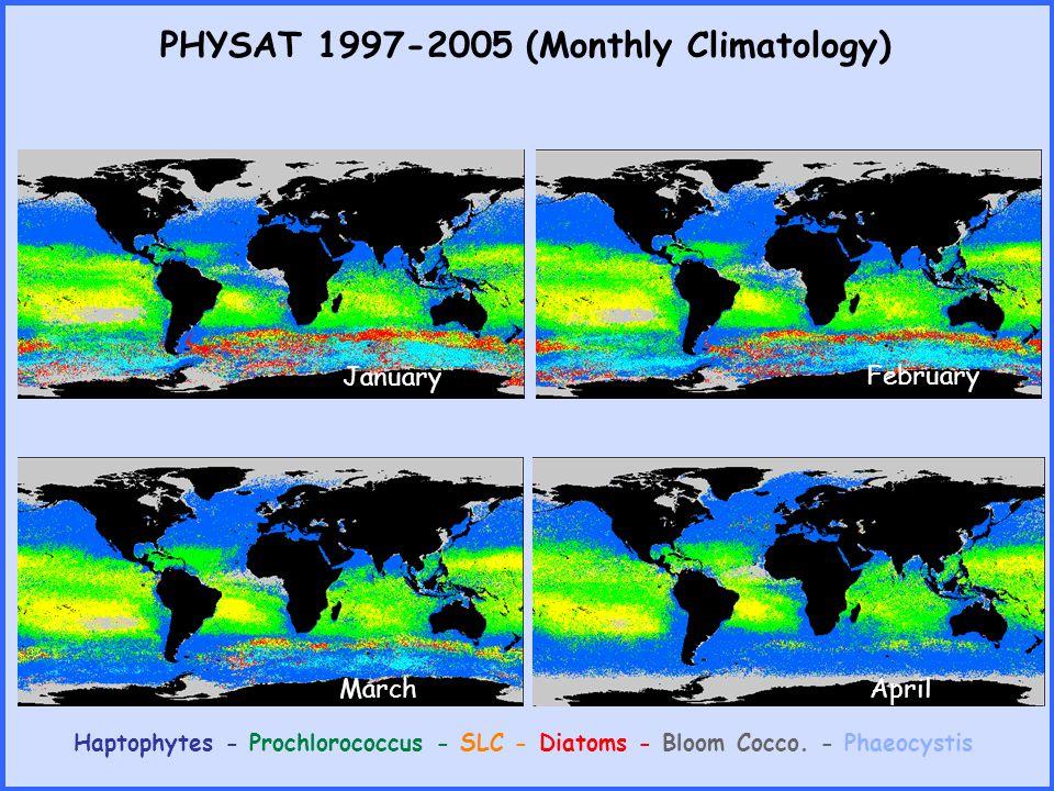 PHYSAT 1998-2004 (Monthly Climatology) Haptophytes - Prochlorococcus - SLC - Diatoms - Bloom Cocco.
