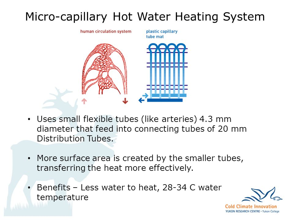 archbould.com Micro-capillary Hot Water Heating System Uses small flexible tubes (like arteries) 4.3 mm diameter that feed into connecting tubes of 20 mm Distribution Tubes.