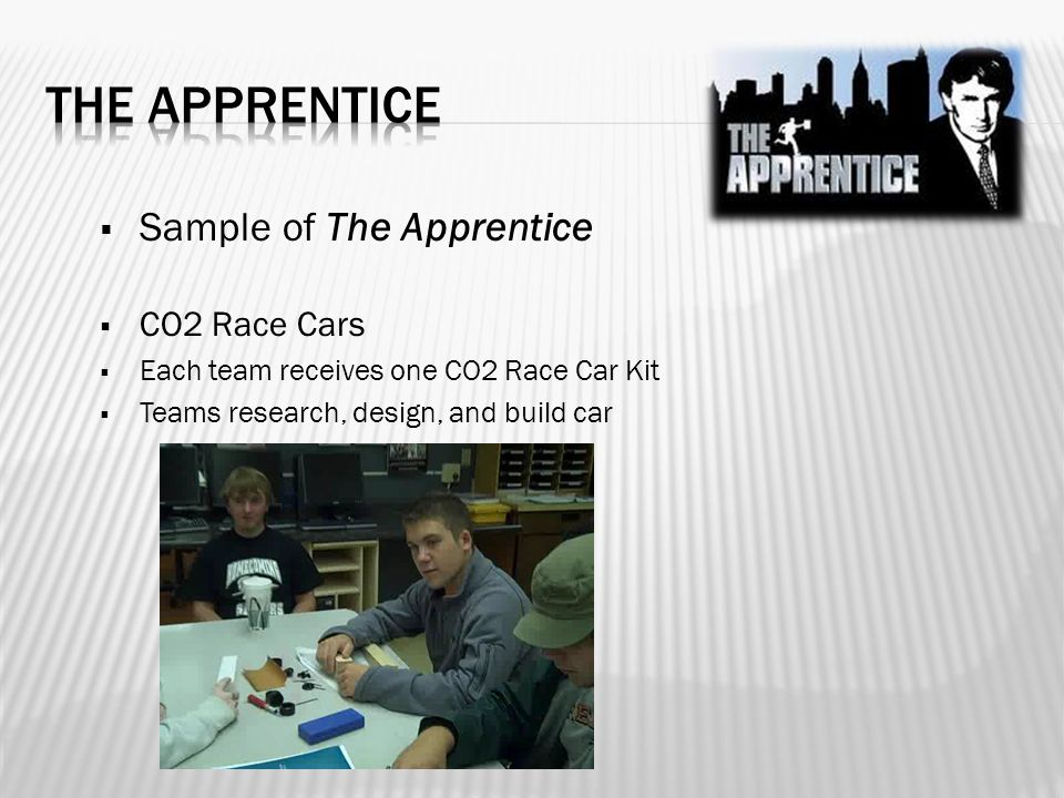  Sample of The Apprentice  CO2 Race Cars  Each team receives one CO2 Race Car Kit  Teams research, design, and build car