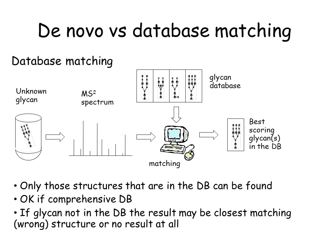 De novo vs database matching MS 2 spectrum Unknown glycan glycan database Database matching matching Best scoring glycan(s) in the DB Only those structures that are in the DB can be found OK if comprehensive DB If glycan not in the DB the result may be closest matching (wrong) structure or no result at all