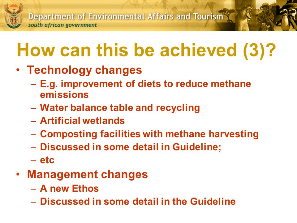 SAFA – path towards an environmentally responsible industry Major progress made with development and adoption of National Environmental Guideline (Thirstland Environmental Services) –Set out legal obligations comprehensively –Suggest practical design and management measures to address environmental concerns –Indicate advantages of environmentally responsible practices
