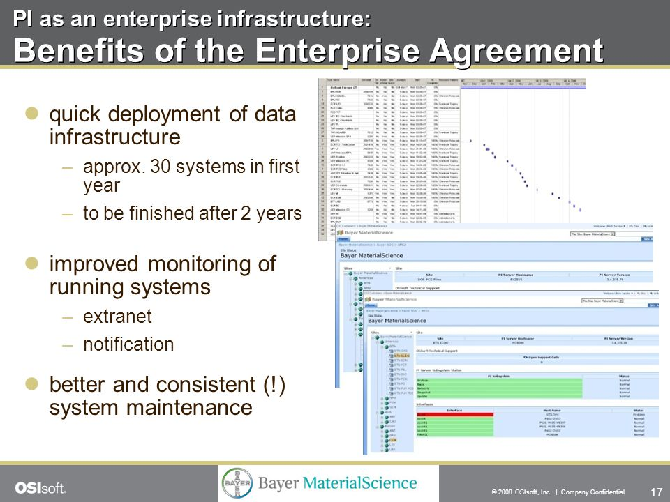 17 © 2008 OSIsoft, Inc. | Company Confidential PI as an enterprise infrastructure: Benefits of the Enterprise Agreement quick deployment of data infra
