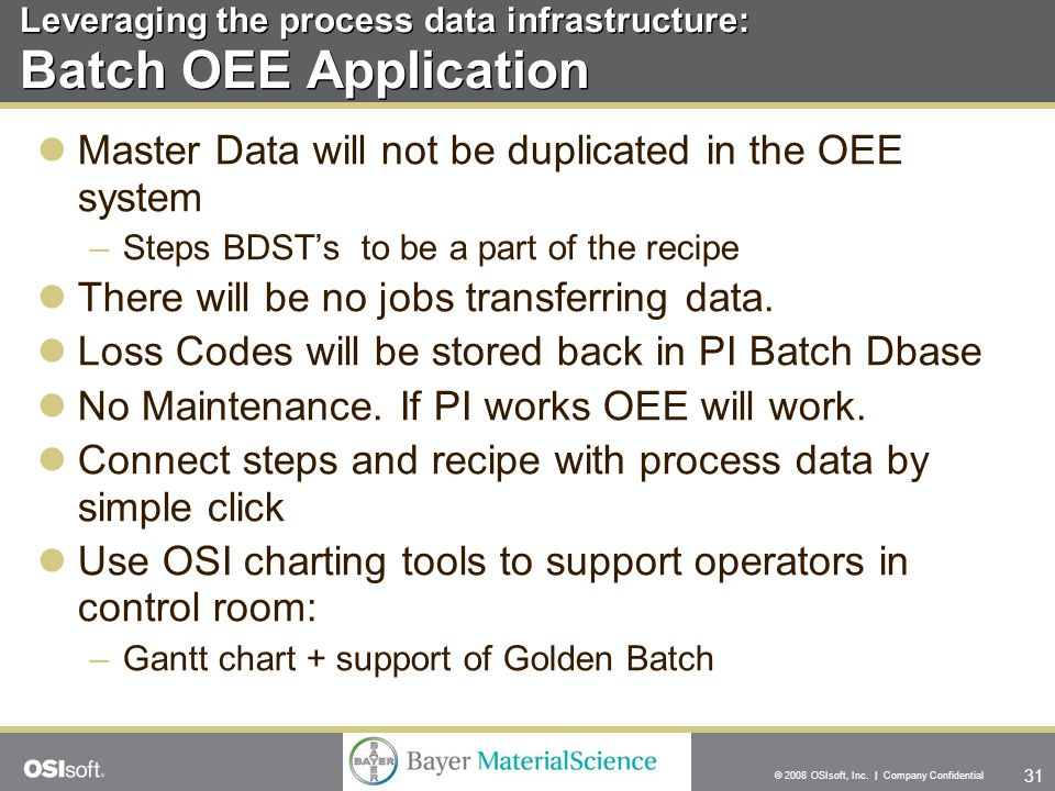 31 © 2008 OSIsoft, Inc. | Company Confidential Master Data will not be duplicated in the OEE system –Steps BDST's to be a part of the recipe There wil