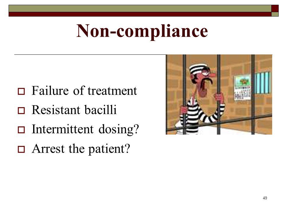 49 Non-compliance  Failure of treatment  Resistant bacilli  Intermittent dosing.