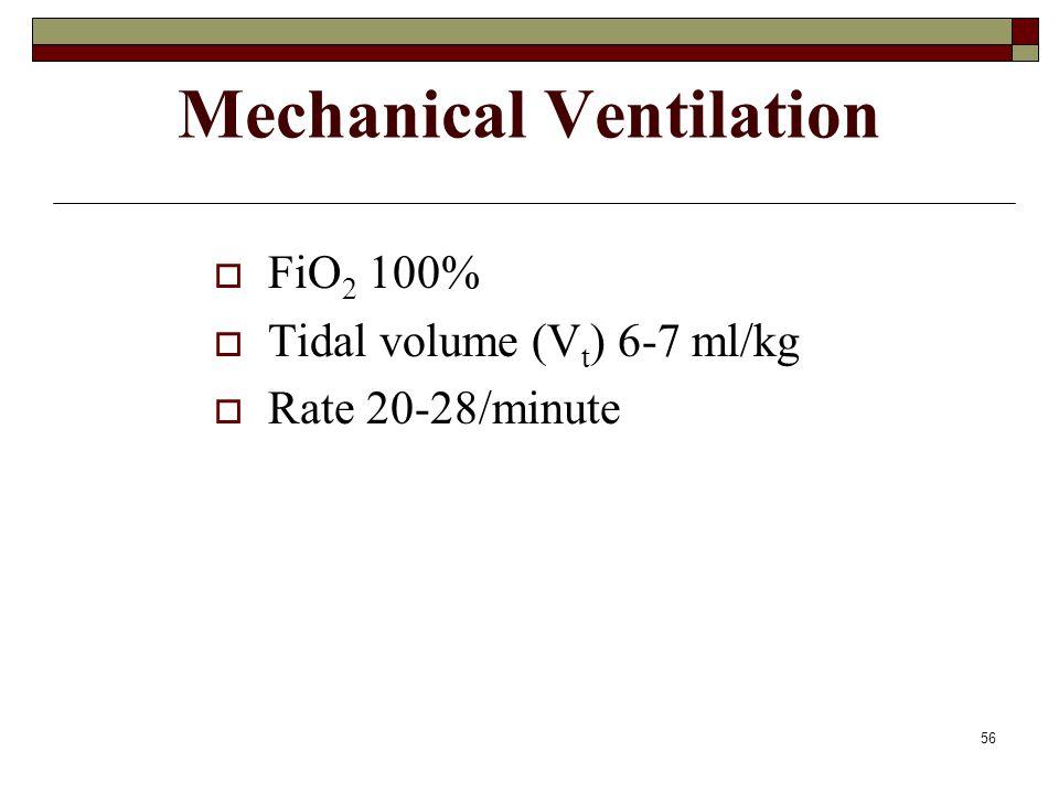 56 Mechanical Ventilation  FiO 2 100%  Tidal volume (V t ) 6-7 ml/kg  Rate 20-28/minute