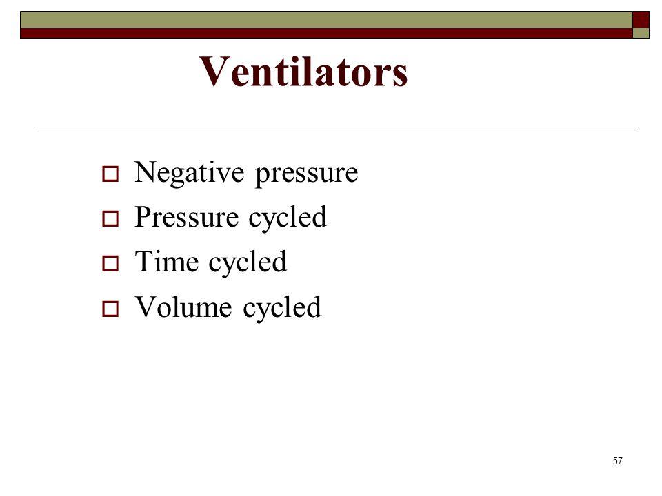 57 Ventilators  Negative pressure  Pressure cycled  Time cycled  Volume cycled