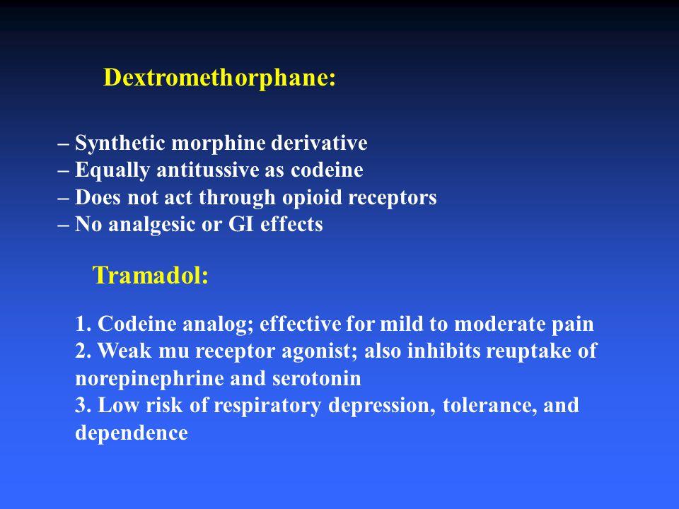 Dextromethorphane: – Synthetic morphine derivative – Equally antitussive as codeine – Does not act through opioid receptors – No analgesic or GI effec