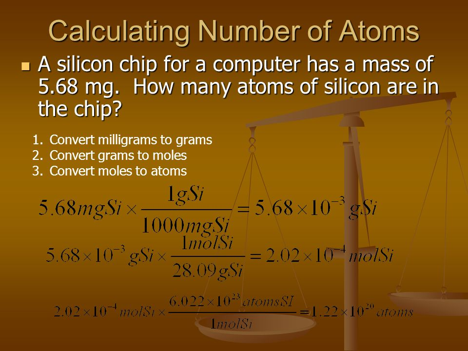 Calculating Number of Atoms A silicon chip for a computer has a mass of 5.68 mg.