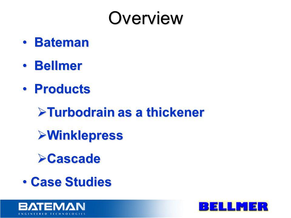 Bateman Bateman Bellmer Bellmer Products Products  Turbodrain as a thickener  Winklepress  Cascade Case Studies Case Studies Overview