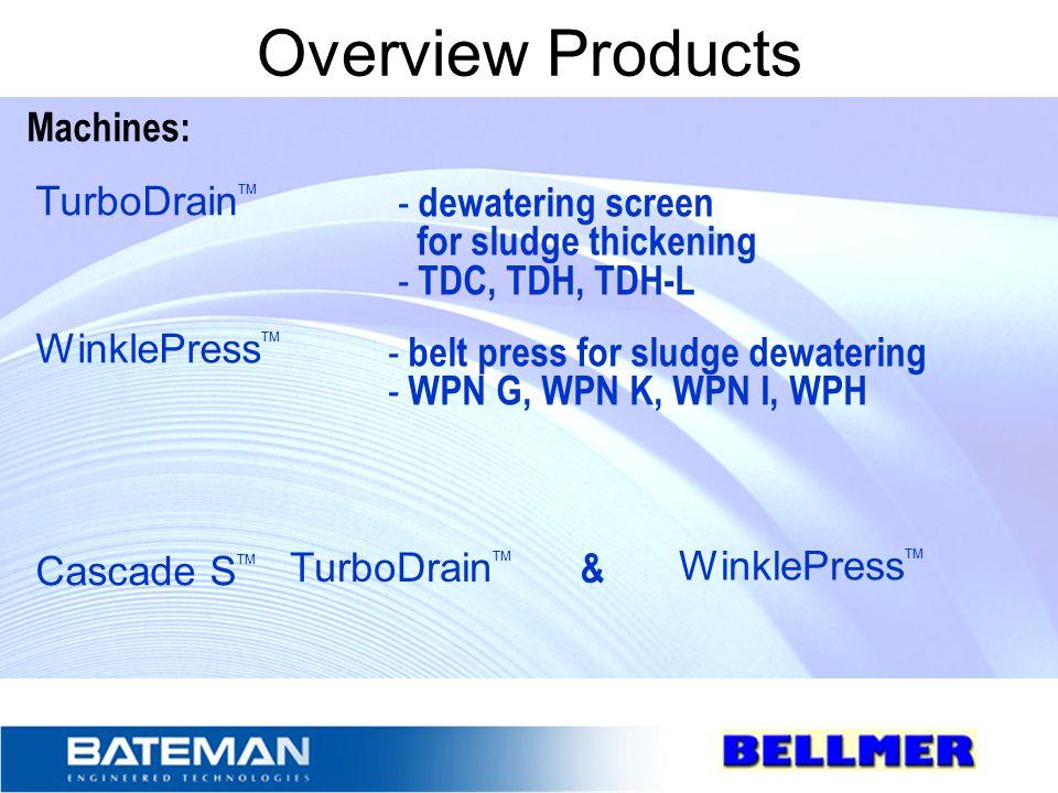 Overview Products Machines: TurboDrain TM WinklePress TM Cascade S TM - dewatering screen for sludge thickening - TDC, TDH, TDH-L - belt press for sludge dewatering - WPN G, WPN K, WPN I, WPH TurboDrain TM WinklePress TM &
