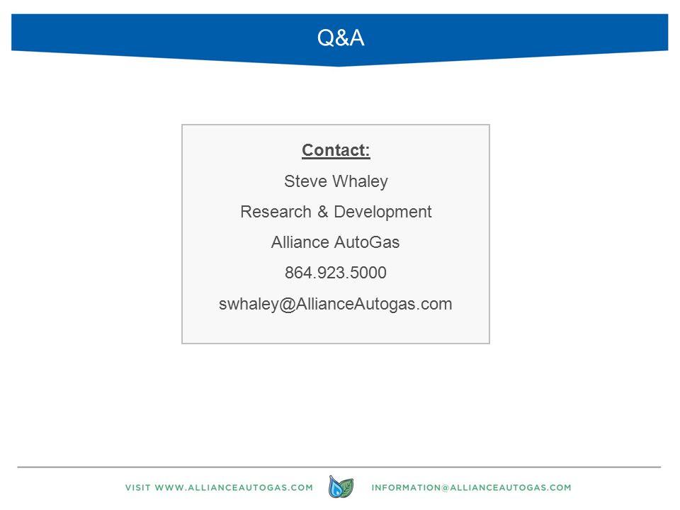 Contact: Steve Whaley Research & Development Alliance AutoGas 864.923.5000 swhaley@AllianceAutogas.com 31 Q&A