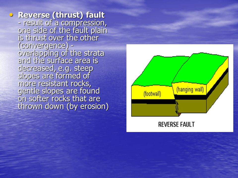 Reverse (thrust) fault - result of a compression, one side of the fault plain is thrust over the other (convergence) - overlapping of the strata and t