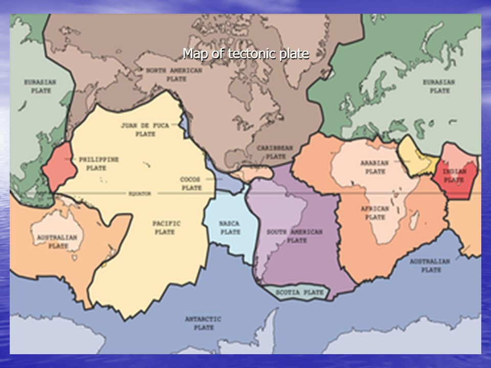 Map of tectonic plate
