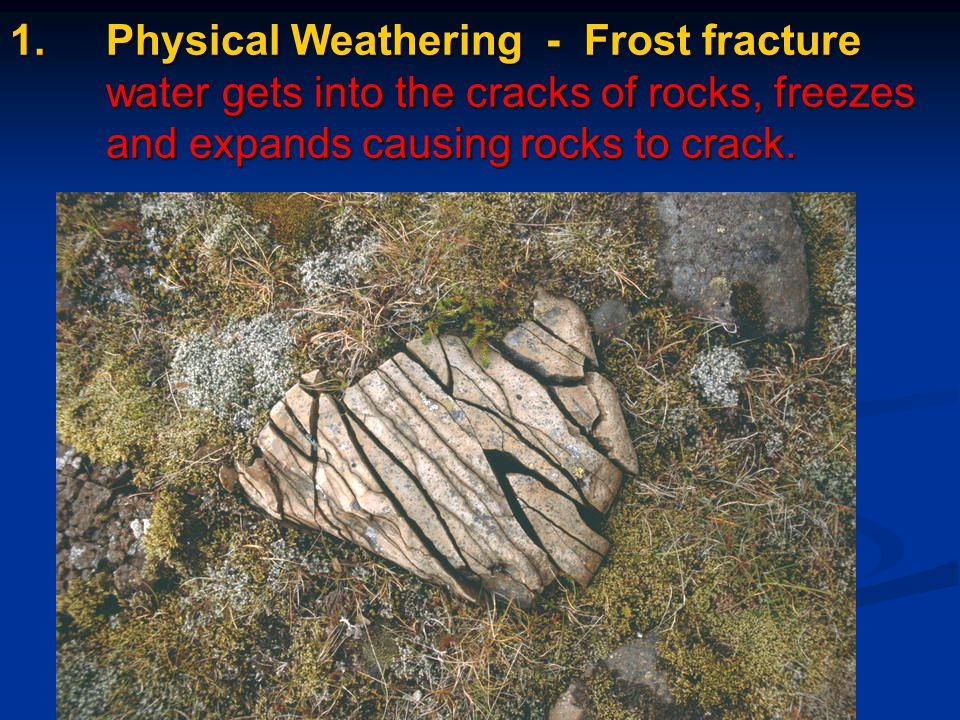 Relate environmental conditions & rate of physical & chemical weathering Freezing temperatures and moisture.