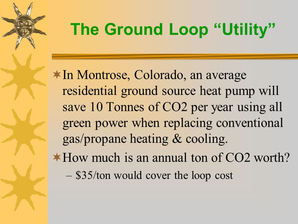 The Ground Loop Utility  In Montrose, Colorado, an average residential ground source heat pump will save 10 Tonnes of CO2 per year using all green power when replacing conventional gas/propane heating & cooling.