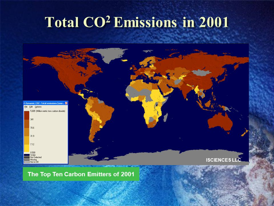 Total CO 2 Emissions in 2001 ISCIENCES LLC The Top Ten Carbon Emitters of 2001